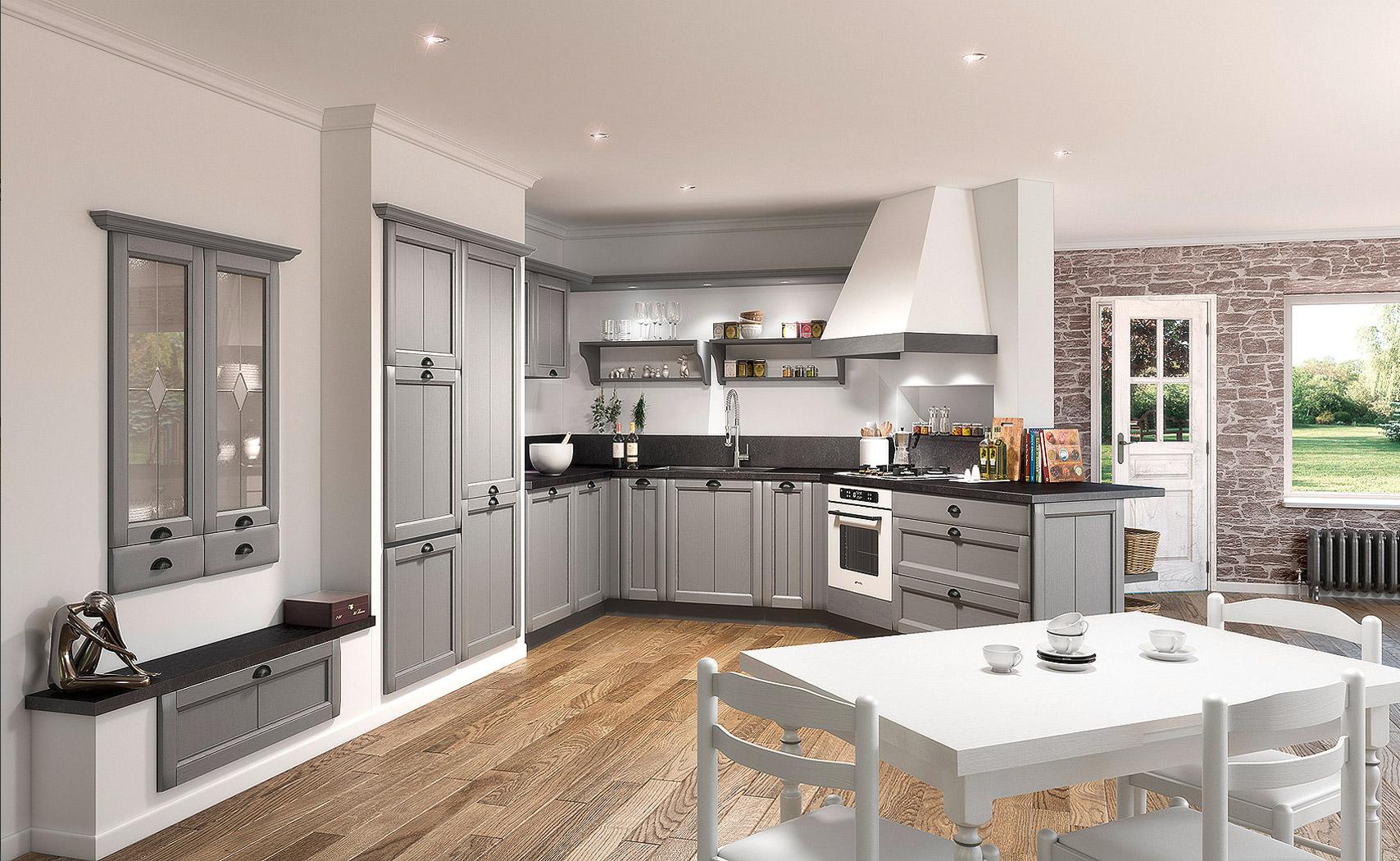 cuisine cabri res ouverte robuste et de caract re style authentique. Black Bedroom Furniture Sets. Home Design Ideas