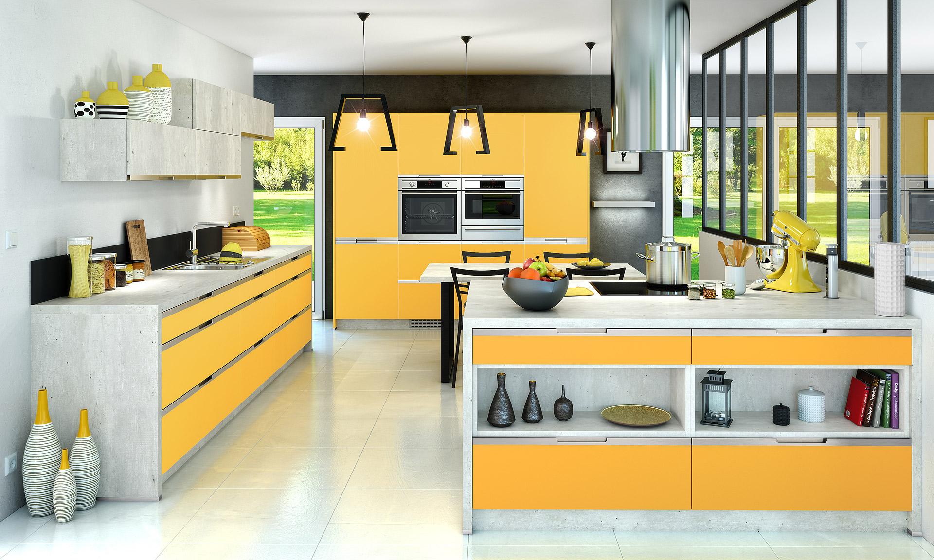 Radieuse, la cuisine Toundra en coloris jaune curcuma illumine la