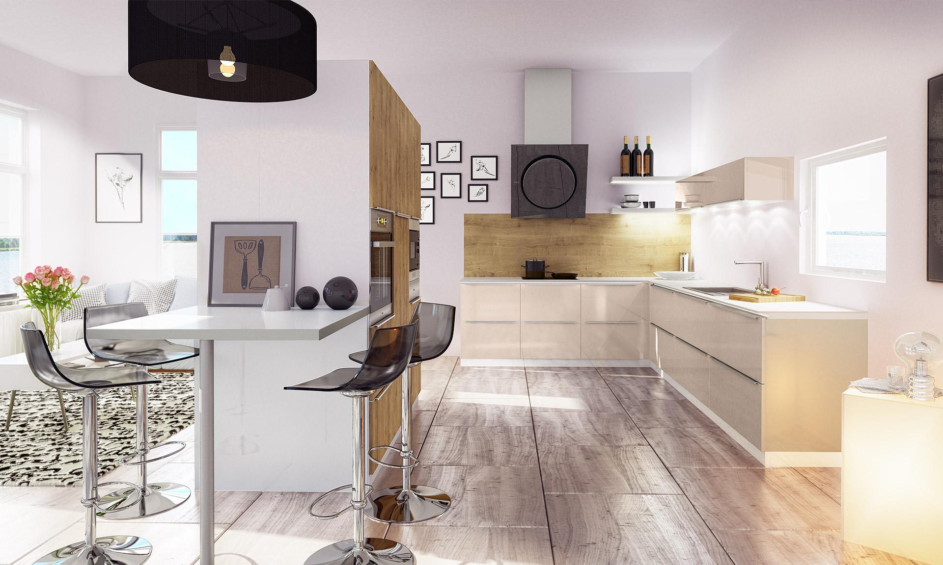 Cette cuisine moderne associe des matériaux et des coloris ...